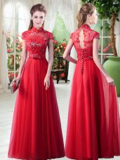 Top Selling Floor Length Lace Up Red for Prom with Appliques