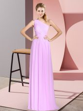 Lilac Chiffon Lace Up Party Dress for Girls Sleeveless Floor Length Ruching