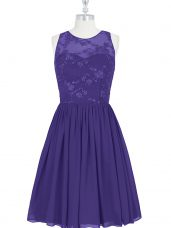 Amazing Purple A-line Chiffon Scoop Sleeveless Lace Mini Length Zipper Prom Gown