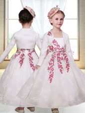 Superior Lace Sleeveless Ankle Length Flower Girl Dresses for Less and Embroidery