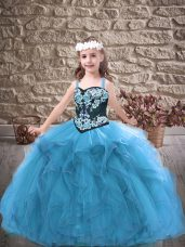 Baby Blue Ball Gowns Embroidery and Ruffles Pageant Dress for Girls Lace Up Tulle Sleeveless Floor Length