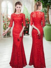 Custom Fit Red Homecoming Dress Prom and Party with Lace Scoop Half Sleeves Zipper