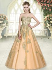 A-line Prom Dresses Peach Sweetheart Tulle Sleeveless Floor Length Lace Up