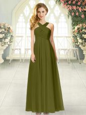 Glamorous Olive Green Empire Ruching Prom Gown Zipper Chiffon Sleeveless Floor Length