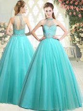 Adorable Aqua Blue Tulle Zipper Prom Dress Sleeveless Floor Length Beading