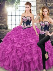 Nice Lace Up 15th Birthday Dress Fuchsia for Military Ball and Sweet 16 and Quinceanera with Embroidery and Ruffles Sweep Train
