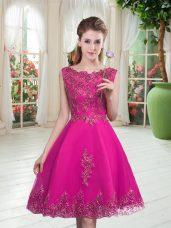 Hot Selling Beading and Appliques Prom Dress Fuchsia Lace Up Sleeveless Knee Length