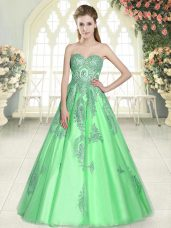 Green Tulle Lace Up Sweetheart Sleeveless Floor Length Prom Evening Gown Appliques