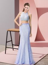 Fine Baby Blue Sleeveless Floor Length Beading and Lace Backless Homecoming Dress