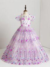 Cute Short Sleeves Zipper Floor Length Hand Made Flower Kids Pageant Dress