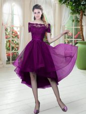 Excellent Purple A-line Tulle Off The Shoulder Short Sleeves Lace High Low Lace Up Evening Dress