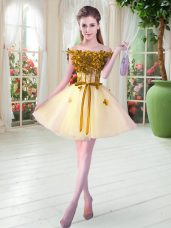 Sweet Yellow Tulle Lace Up Off The Shoulder Sleeveless Mini Length Prom Party Dress Beading and Appliques