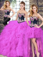 Unique Fuchsia Three Pieces Sweetheart Sleeveless Tulle Floor Length Lace Up Beading and Embroidery Quinceanera Gown