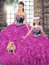 Fuchsia Ball Gowns Organza Sweetheart Sleeveless Embroidery and Ruffles Lace Up Sweet 16 Dresses