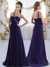 Decent Purple One Shoulder Lace Up Beading Quinceanera Dama Dress Brush Train Sleeveless