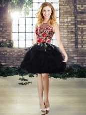 Stunning Sleeveless Organza Mini Length Lace Up Juniors Evening Dress in Black with Embroidery and Ruffles