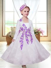 White A-line Embroidery Flower Girl Dresses for Less Zipper Lace Sleeveless Ankle Length