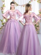 Half Sleeves Appliques Zipper Wedding Party Dress