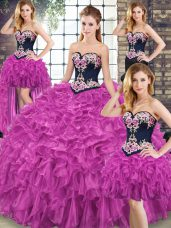 Stylish Organza Sleeveless Sweet 16 Quinceanera Dress Sweep Train and Embroidery and Ruffles