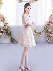 Chic Scoop Short Sleeves Wedding Guest Dresses Mini Length Lace Champagne