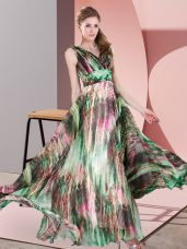 New Style Empire Prom Dress Multi-color V-neck Printed Sleeveless Floor Length Lace Up