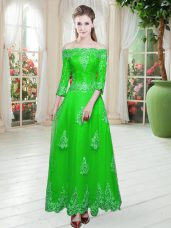3 4 Length Sleeve Tulle Floor Length Lace Up Prom Party Dress in Green with Lace