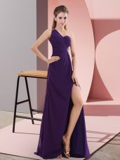 Flare Purple Sleeveless Chiffon Sweep Train Backless Evening Dress for Prom and Party and Military Ball
