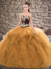 Customized Sleeveless Lace Up Floor Length Beading and Embroidery 15th Birthday Dress
