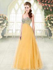 Custom Made Orange Tulle Lace Up Sweetheart Sleeveless Floor Length Prom Gown Beading