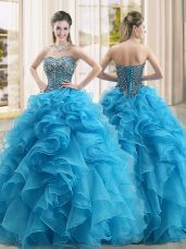 Lovely Beading and Ruffles Sweet 16 Dresses Baby Blue Lace Up Sleeveless Floor Length