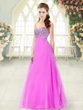Free and Easy Beading Prom Party Dress Pink Lace Up Sleeveless Floor Length