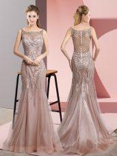 Noble Pink Tulle Zipper Scoop Sleeveless Floor Length Womens Evening Dresses Beading