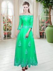 A-line Prom Dresses Turquoise Off The Shoulder Tulle 3 4 Length Sleeve Floor Length Lace Up