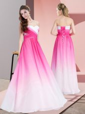 Floor Length Pink And White Dress for Prom Chiffon Sleeveless Ruching