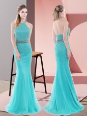 Sleeveless Sweep Train Beading Backless Prom Evening Gown