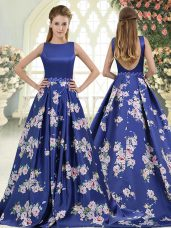 Glorious Sleeveless Beading and Pattern Backless Prom Dress with Royal Blue Brush Train