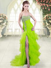 Sophisticated Mermaid Beading and Ruffled Layers Prom Dress Lace Up Organza Sleeveless