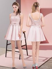Baby Pink Lace Up Homecoming Dress Lace and Bowknot Sleeveless Mini Length