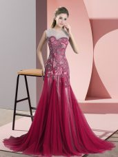 Scoop Sleeveless Sweep Train Backless Red Tulle