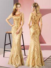 Half Sleeves Zipper Floor Length Sequins Evening Dress