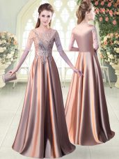 Modern Elastic Woven Satin Half Sleeves Floor Length Dress for Prom and Sequins