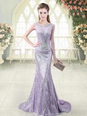 Glittering Lavender Scoop Zipper Beading Homecoming Dress Brush Train Sleeveless