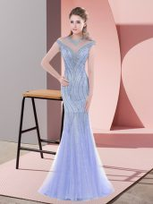 Suitable Sleeveless Beading and Lace Zipper Evening Dress with Baby Blue Sweep Train