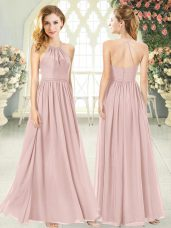 Floor Length Pink Dress for Prom Chiffon Sleeveless Ruching