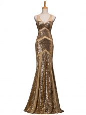 Amazing Brown V-neck Neckline Ruching Formal Dresses Sleeveless Backless