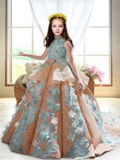 Peach Satin Backless Pageant Dress Toddler Sleeveless Court Train Appliques