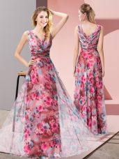 Sophisticated Multi-color Sleeveless Floor Length Pattern Zipper Evening Dress