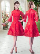 Lace Prom Dress Red Zipper 3 4 Length Sleeve Knee Length