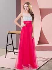Floor Length Coral Red Dress for Prom Chiffon Sleeveless Sequins