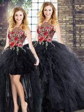 Black Sleeveless Floor Length Embroidery and Ruffles Zipper Quinceanera Gown